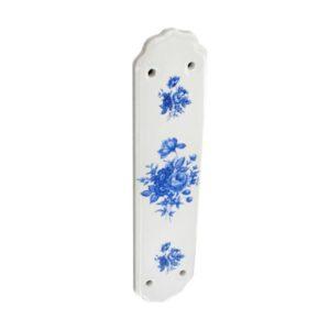 Ceramic fingerplate White/Blue Flower