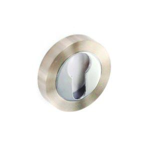 Satin Nickel/Chrome Euro escutcheon 50mm