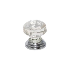Glass Faceted knob Chrome 38mm