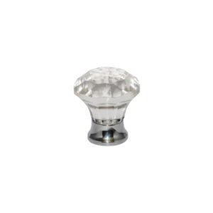 Glass Solitaire knob Chrome 38mm